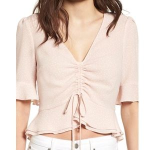 ASTR The Label Cinch Front Blouse in Blush | Sz Sm